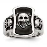 Men's Stainless Steel Black-plated Skulls Ring