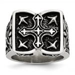 Men's Stainless Steel Antiqued Cross Ring