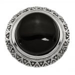 Stainless Steel Black Glass with Textured Edge Ring