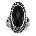 Stainless Steel Black Glass Antiqued Ring