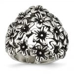 Stainless Steel Antiqued Flowers Ring
