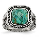 Stainless Steel Antiqued Imitation Turquoise Ring