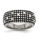 Stainless Steel Crystal Antiqued Ring