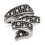 Stainless Steel Crystal Antiqued Swirl Ring