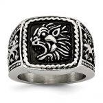 Men's Stainless Steel Antiqued Lion Ring
