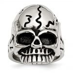 Men's Stainless Steel Polished and Antiqued Skull Ring