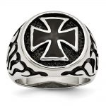 Men's Stainless Steel Polished/Antiqued and Black IP-plated Ring