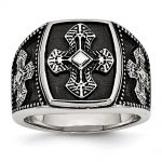 Men's Stainless Steel Polished and Antiqued Cross Ring