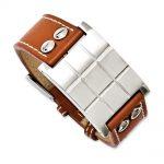 Stainless Steel Brown Leather Adjustable Buckle Bracelet