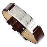 Stainless Steel Textured Brown Leather Adjustable Buckle Bracelet