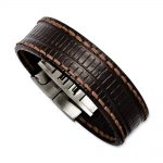 Stainless Steel Brown Textured Leather 8in Bracelet