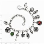 Stainless Steel Synthetic Jade & Red Glass with 2in ext. Charm Bracelet