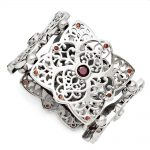 Stainless Steel Red CZ Stretch Bracelet
