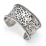 Stainless Steel Patterned Antiqued Cuff Bangle