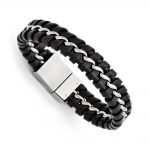 Stainless Steel Black Leather Brushed and Polished Bracelet
