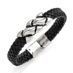 Stainless Steel Antiqued Black Leather Bracelet