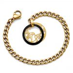 Stainless Steel/Ceramic Polished/Laser Cut Yellow IP-plated Bracelet