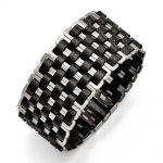 Stainless Steel Polished Woven Black Leather Bracelet