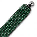 Stainless Steel Black Cord Woven Imitation Malachite Bracelet