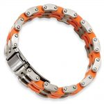 8 Inch Stainless Steel Orange Rubber Bracelet