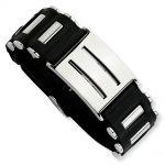 Stainless Steel Black PVC 9.5in Buckle Bracelet
