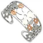 Stainless Steel Polished Butterfly & Flowers Pink IP-plated Cuff Bangle