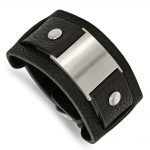 Stainless Steel Black Leather 10in Adjustable w/Buckle Bracelet