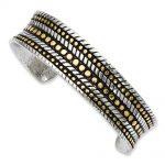 Stainless Steel Antiqued & Yellow IP plated Cuff Bangle