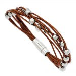 Stainless Steel Polished Beads & Brown Leather 7.5in Bracelet