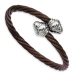 Stainless Steel Chocolate IP-plated Twisted Wire Bangle