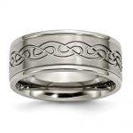 Men's Titanium Scroll Design Brushed and Polished Wedding Band Ring