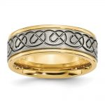 Men's Titanium Scroll Design Yellow IP-plated Grooved Edge Wedding Band Ring