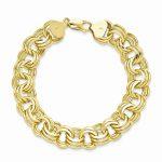 14k Yellow Gold 14.50mm Triple Link Charm Bracelet