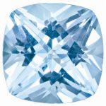Loose Topaz Gemstone Ice Blue 6mm Cushion Checkerboard