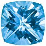 Loose Topaz Gemstone Paraiba Blue 6mm Cush Checkerboard