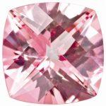Loose Topaz Gemstone Baby Pink 6mm Cushion Checkerboard