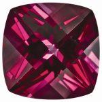 Loose Topaz Gemstone Blazing Red 6mm Cushion Checkerboard