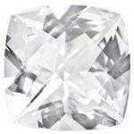 Loose Topaz Gemstone White 5mm Cushion Checkerboard