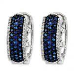 14k White Gold (H/I1 Quality) Diamond & Sapphire Earrings