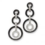 14k White Gold (H/I1 Quality) Diamond Circle Dangle Post Earrings