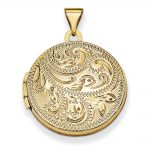 14k Gold 20mm Round Fully Scroll Hand Engraved Locket